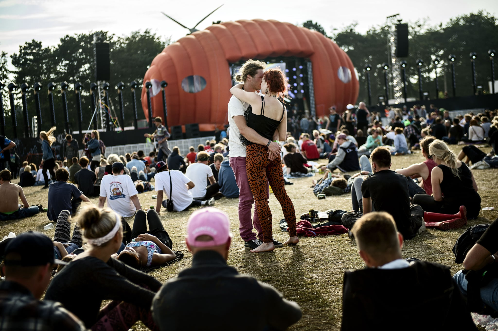A couple danced at Roskilde Restival in Denmark.