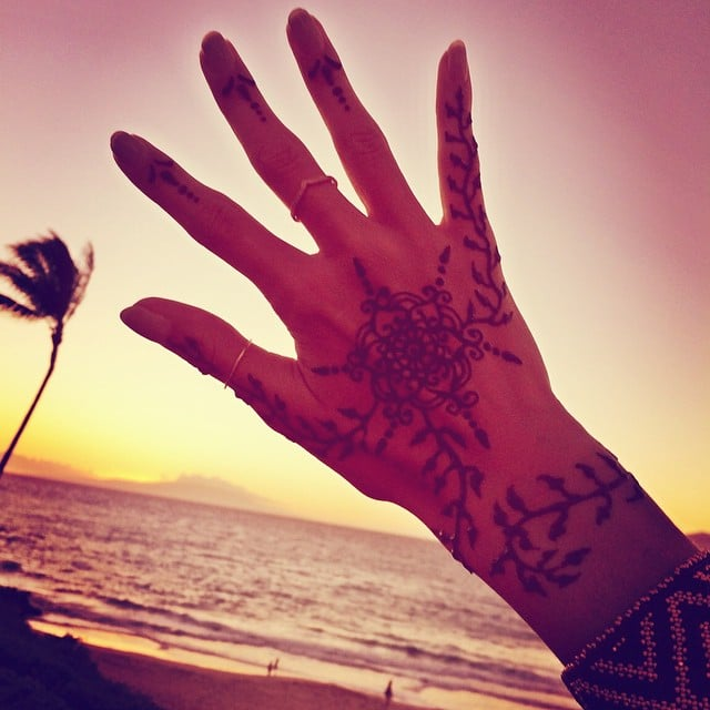 """Loving my hand henna art,"" Alessandra wrote in the caption.  Source: Instagram user alessandraambrosio"