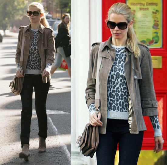 Claudia Schiffer in London Wearing Leopard Sweater and Tan Suede Jacket