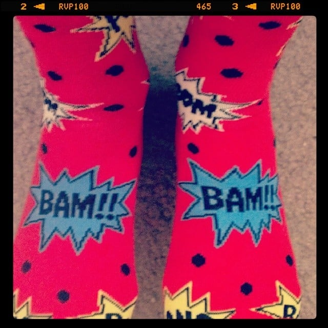 This supporter's socks came with sound effects.  Source: Instagram user stephaniecarnes1