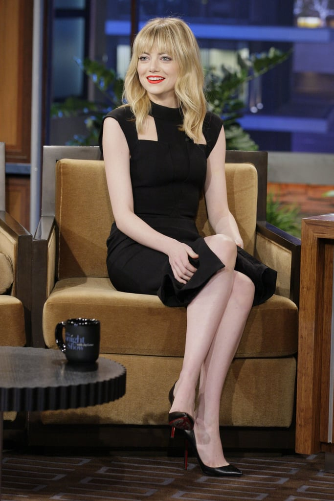 Emma Stone chatted with Jay Leno.
