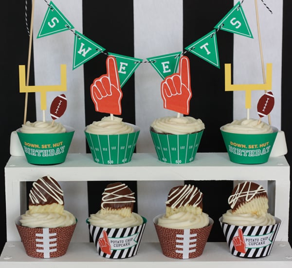 Printable Football Cupcake Wraps and Toppers