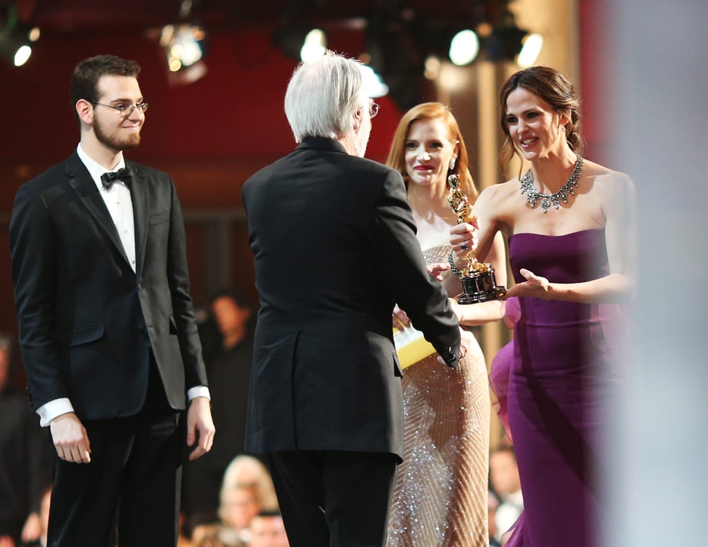 Jennifer Garner and Jessica Chastain met up with Michael Haneke backstage at the Oscars.