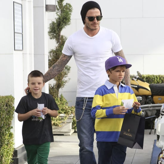 David Beckham Pictures Shopping With Romeo and Cruz