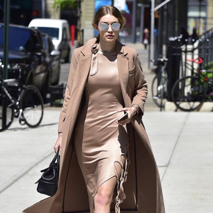 Gigi Hadid Nude Dress Street Style | POPSUGAR Fashion