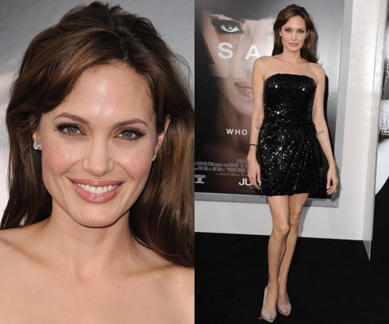 Photos of Angelina Jolie at Salt Premiere in Sequined Bandeau Dress