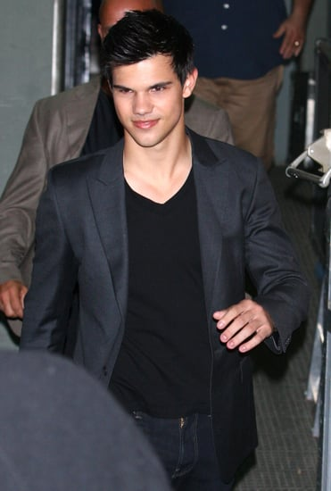 Pictures of Taylor Lautner in Spain Wearing Leather Jacket