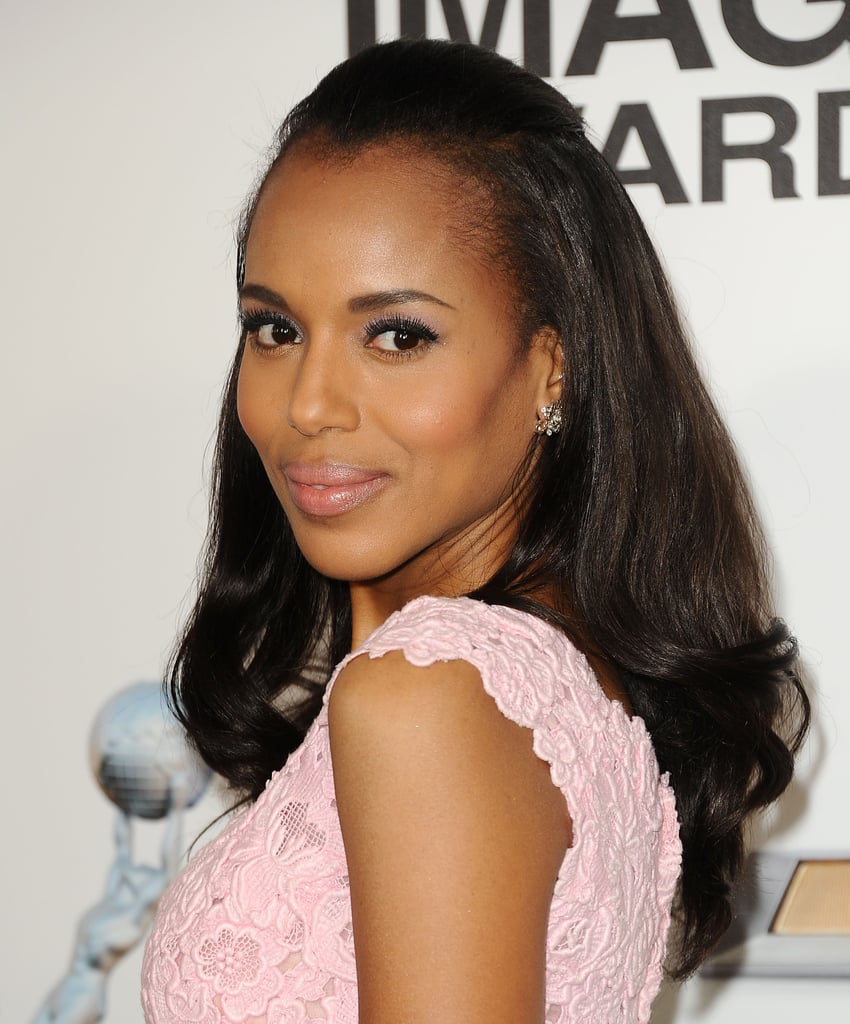 This half-up style from Kerry Washington is quick and easy. She added soft curls for a feminine feel, but this style can be worn with straight, wavy, or curly hair.