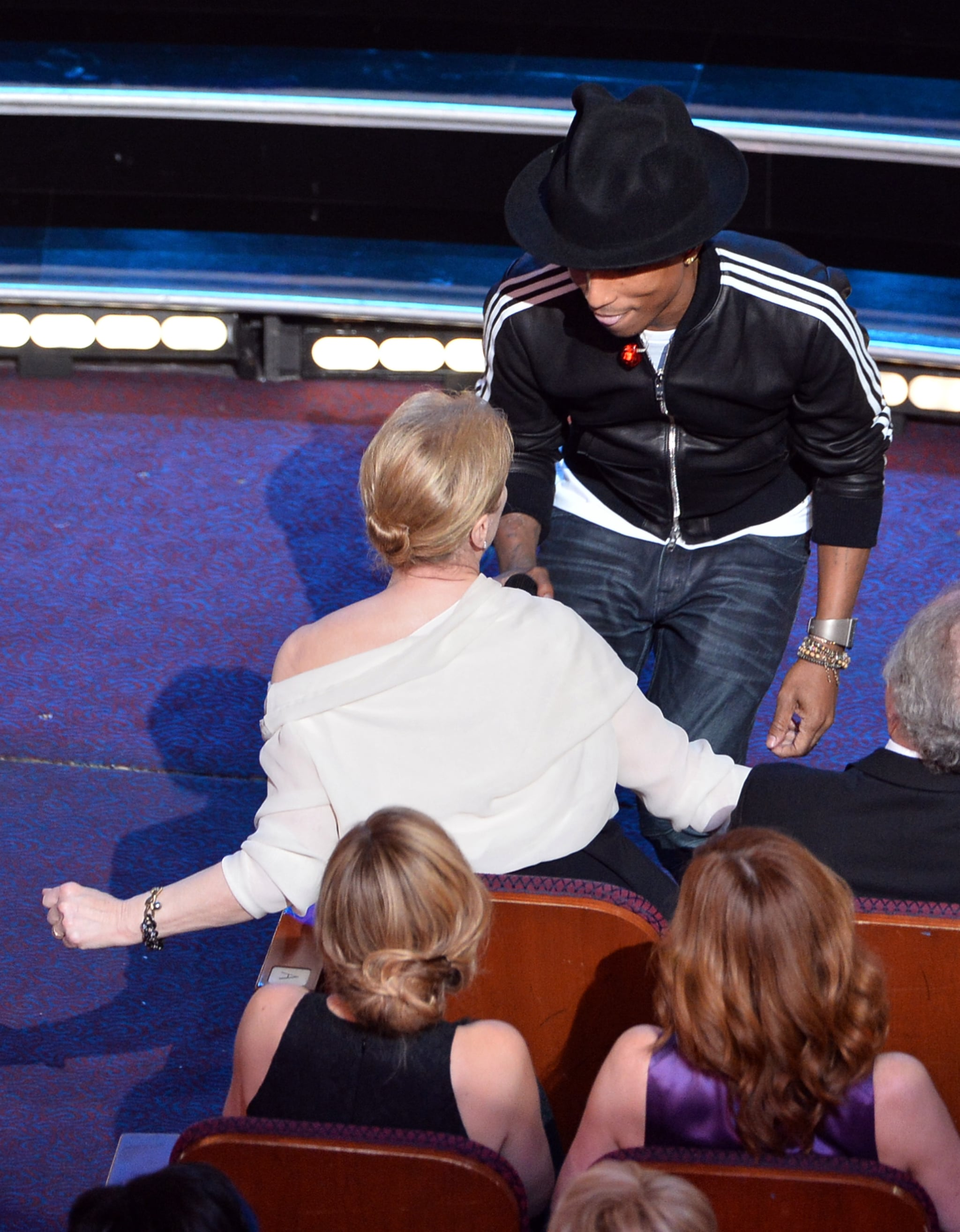 """Pharrell shimmied with Meryl Streep during his performance of """"Happy"""" — making for one of the best GIFs of the night."""