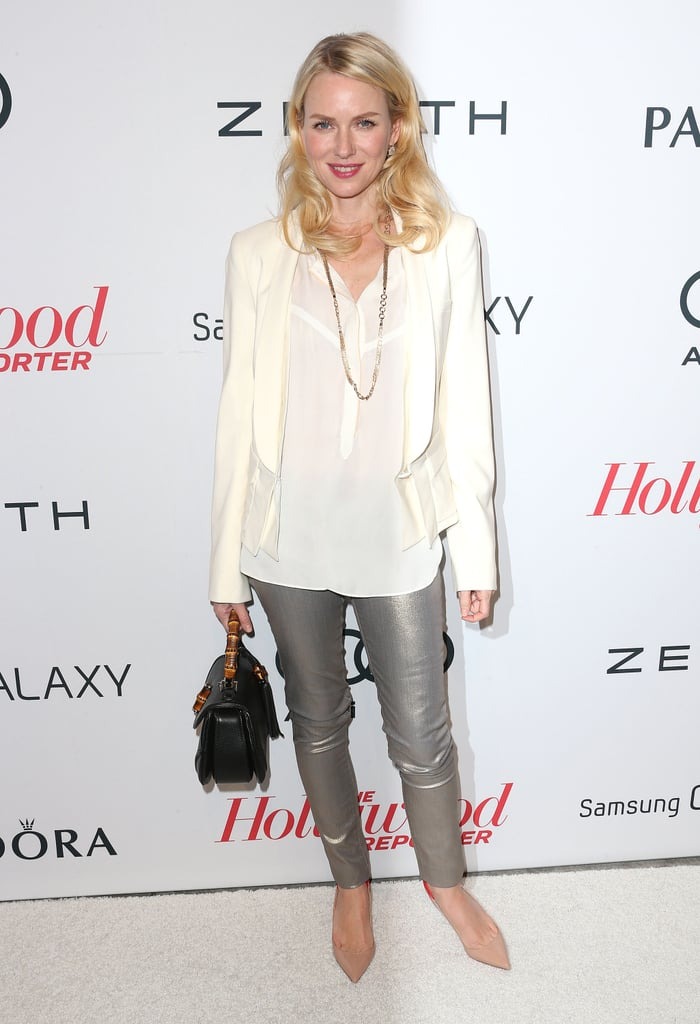Naomi Watts ditched the cocktail dress in favor of a sleek A.L.C. blazer and top, which she paired with metallic leggings and pointed-toe pumps.