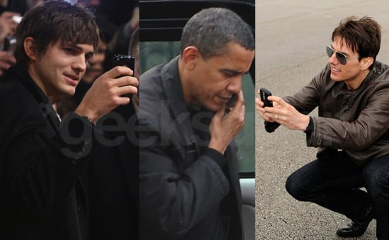 Ashton Kutcher, Barack Obama, and Tom Cruise Geeking-Out With Their Cell Phones