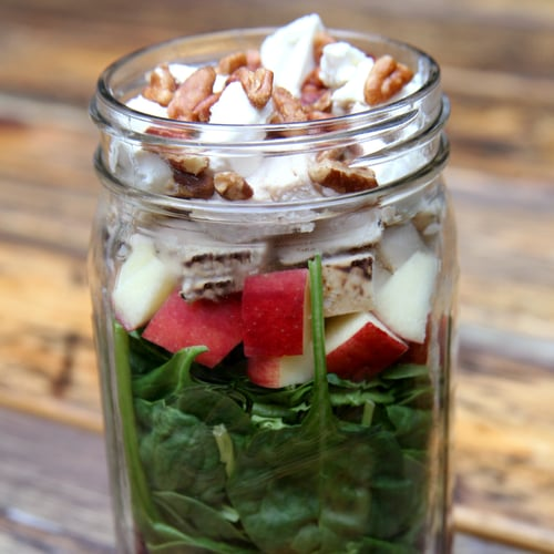 Grilled Chicken, Beet, Apple, and Spinach Salad With Strawberry Vinaigrette