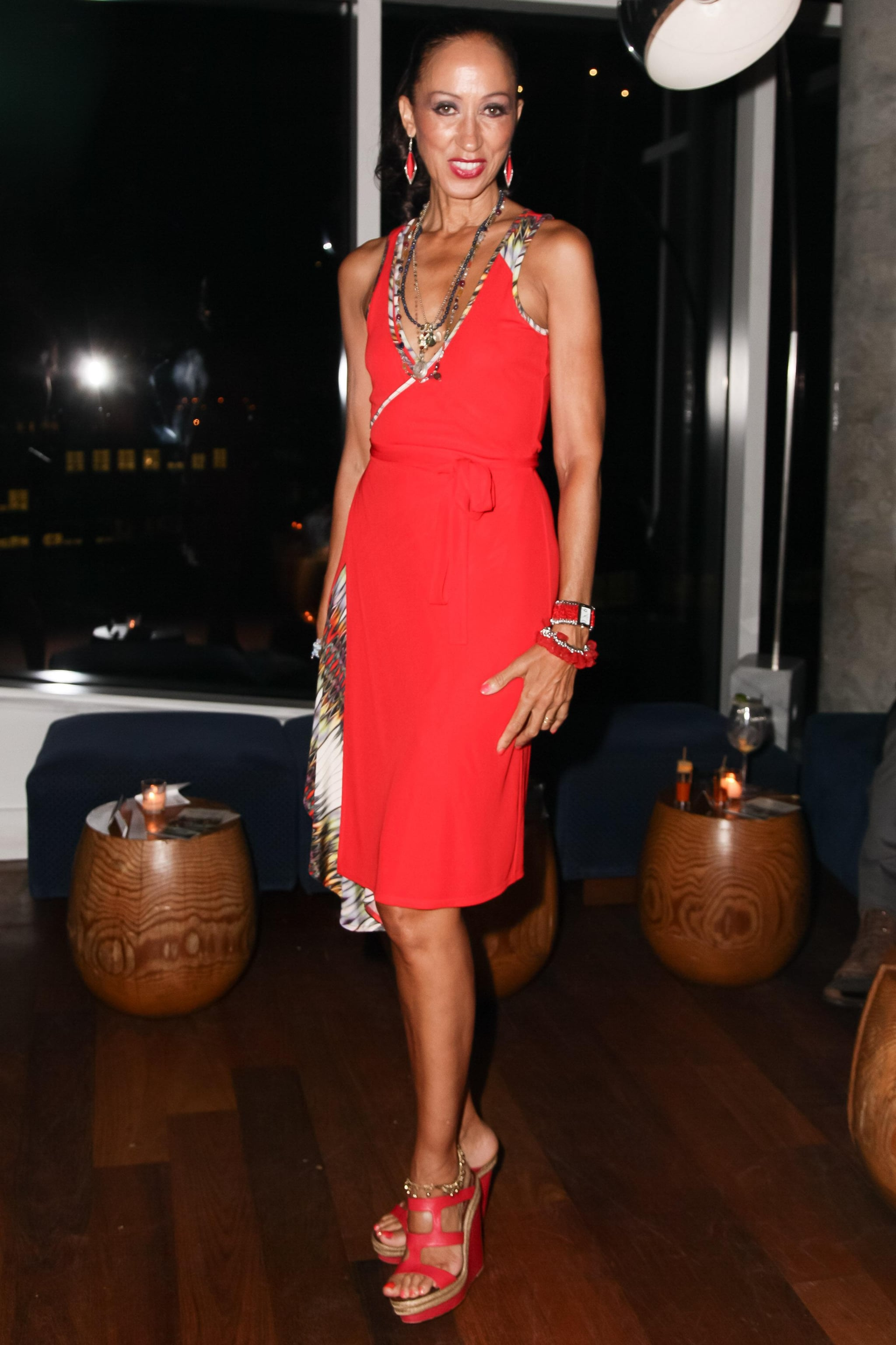 Pat Cleveland arrived for the Prince Avalanche after-party in a red hot design.