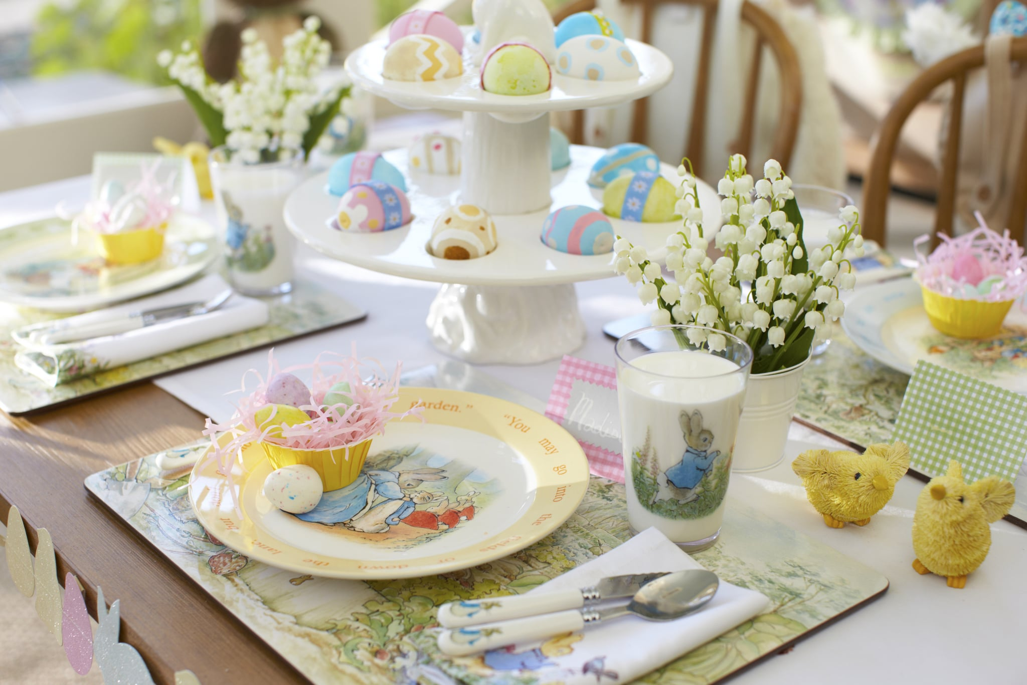 We're having a bit of a love affair around here with Peter Rabbit. Beatrix Potter's beloved bunny is having a renaissance with a new collection at BabyGap and now an Easter table setting at Pottery Barn Kids. These Peter Rabbit Plates ($12 each) are ideal for your upcoming Easter celebrations and throughout the year.
