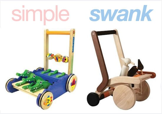 Inexpensive and Expensive Versions of Wooden Baby Walkers
