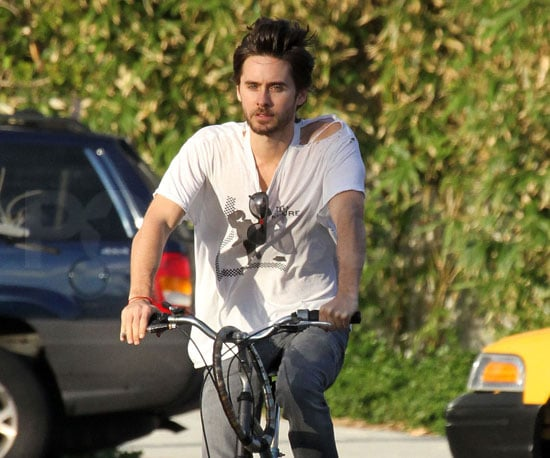 Slide photo of Jared Leto Biking in Miami