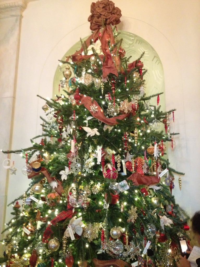 In the Cross Hall, there was a tree filled with ornaments honoring previous first ladies.
