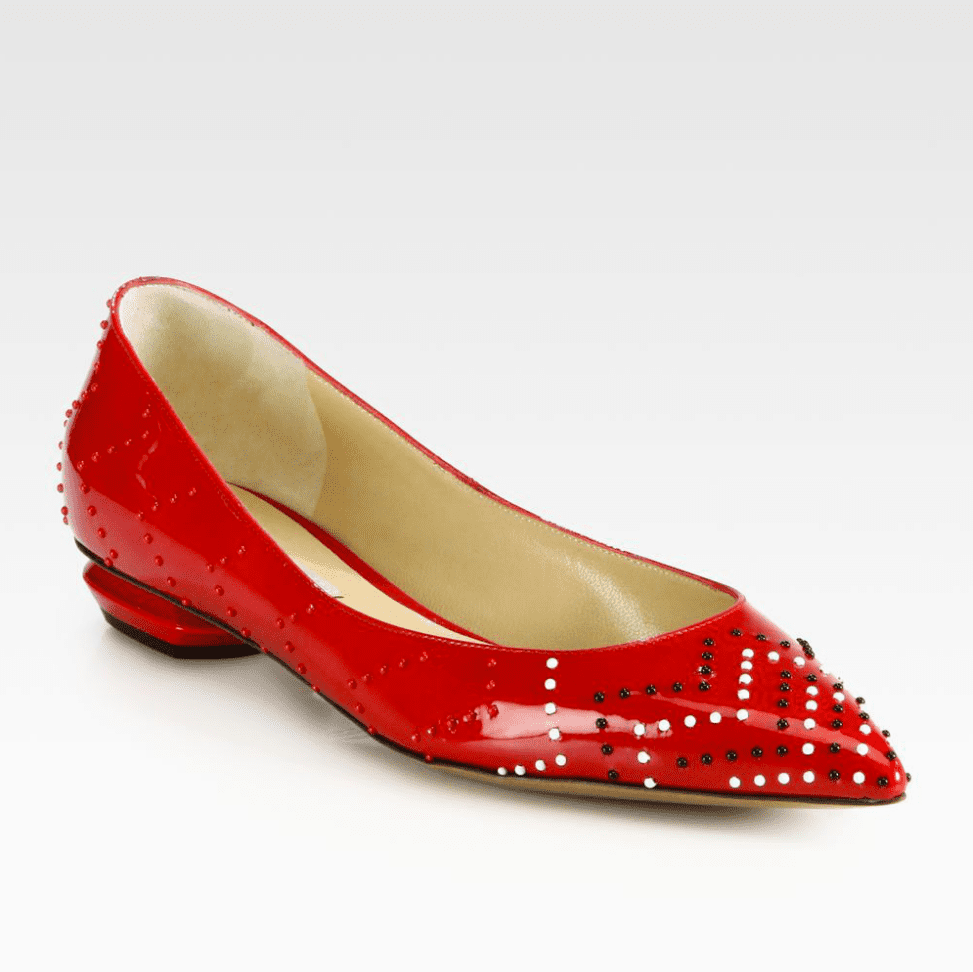 No color's more holiday-appropriate than bold red. Nicholas Kirkwood must agree, turning out a spotted patent-leather option ($895) that's just as formal as any black pump.