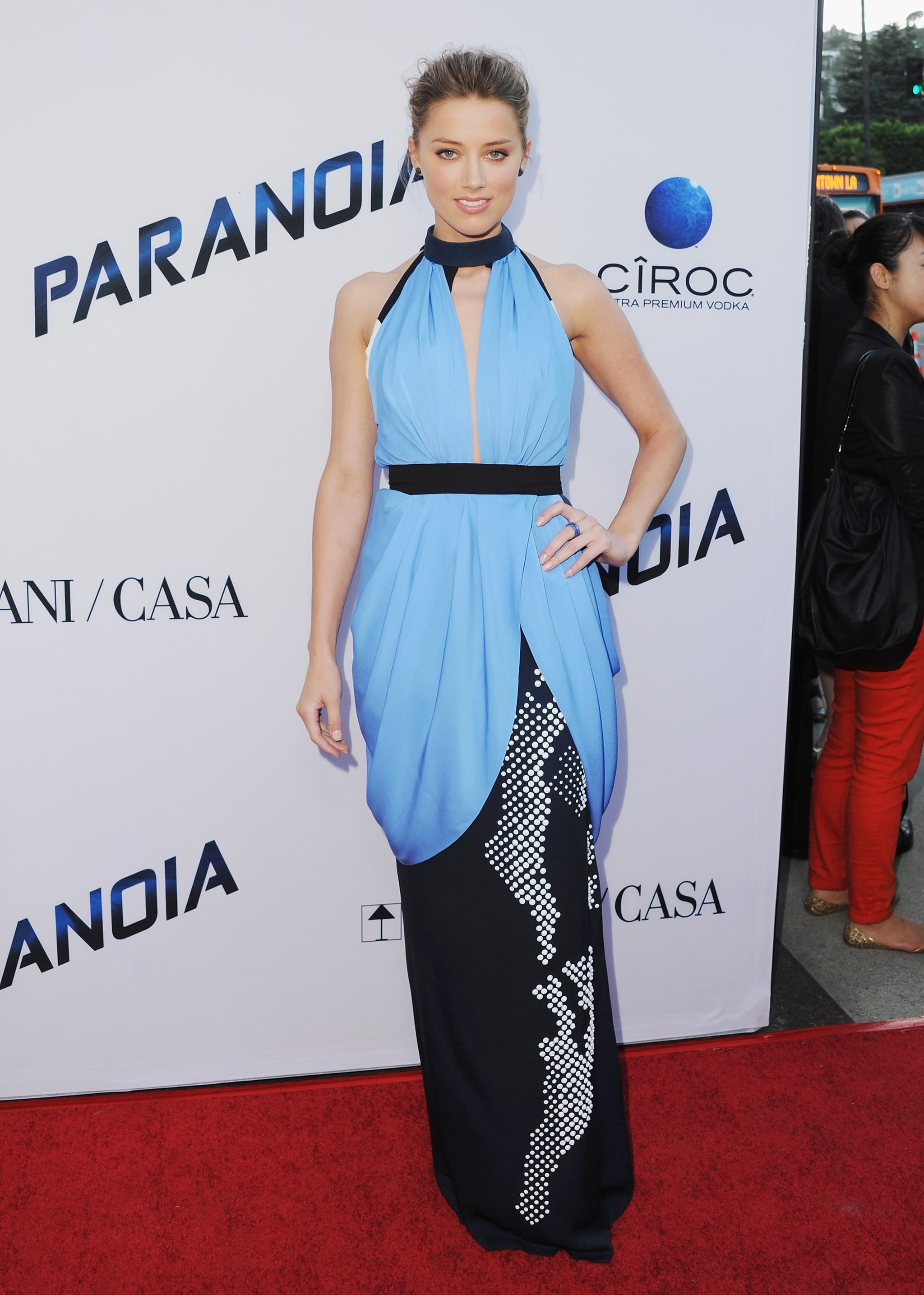 Amber Heard was a standout in Vionnet's draped blue design at the Paranoia premiere in LA.