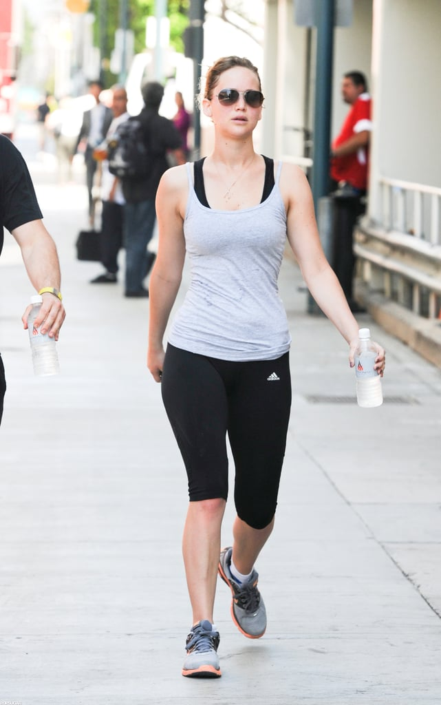 Jennifer Lawrence headed out after a workout in LA.