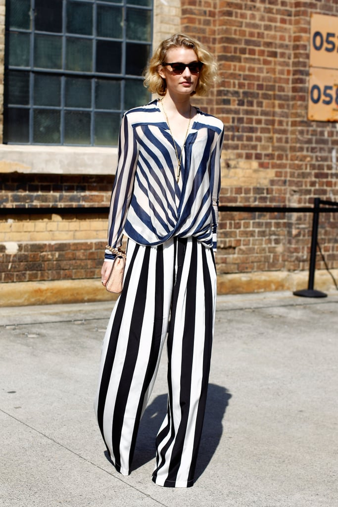 These flowy, bold stripes demand attention; evoke the same dramatic look with a pair of striped pants and a solid top for your next party function.