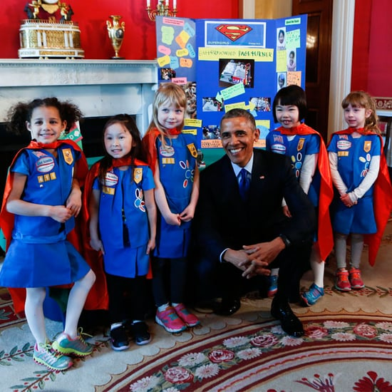 President Obama With Girl Scouts at Science Fair