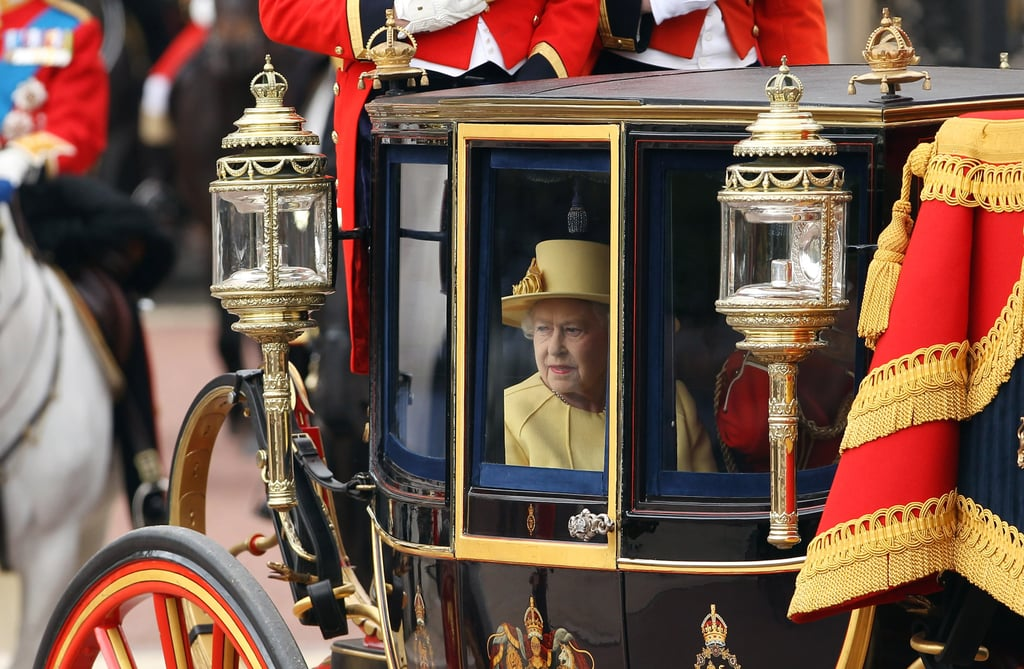 Queen Elizabeth arrived at the Trooping the Colour ceremony in London.