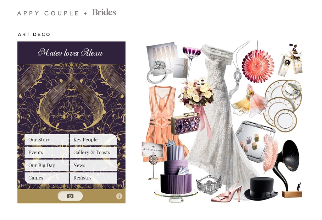 Take it back to the glamorous 1920s with a high-fashion, vintage-inspired Art Deco ($28) ceremony. Source: Appy Couple