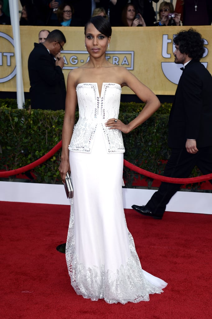 Kerry Washington's white Rodarte gown was detailed with embroidery and lace.