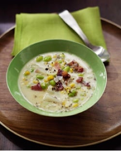 Fast & Easy Recipe for Edamame Corn Chowder With Bacon