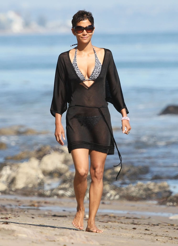 Halle covered up her bikini in Malibu during April 2011.