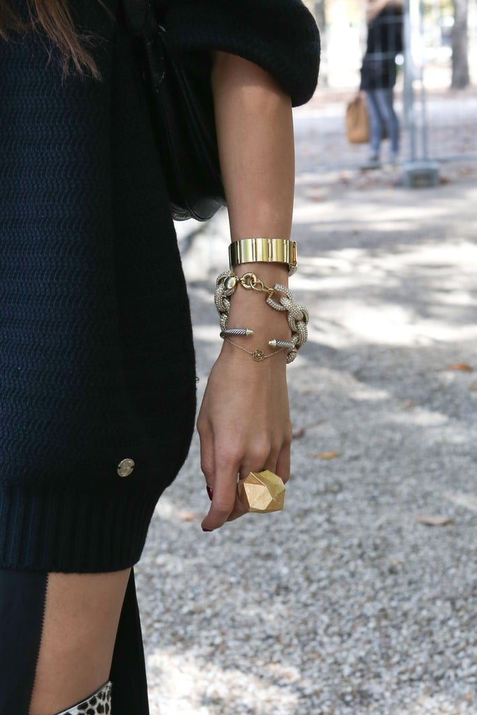 An armful of enviable gold jewels.