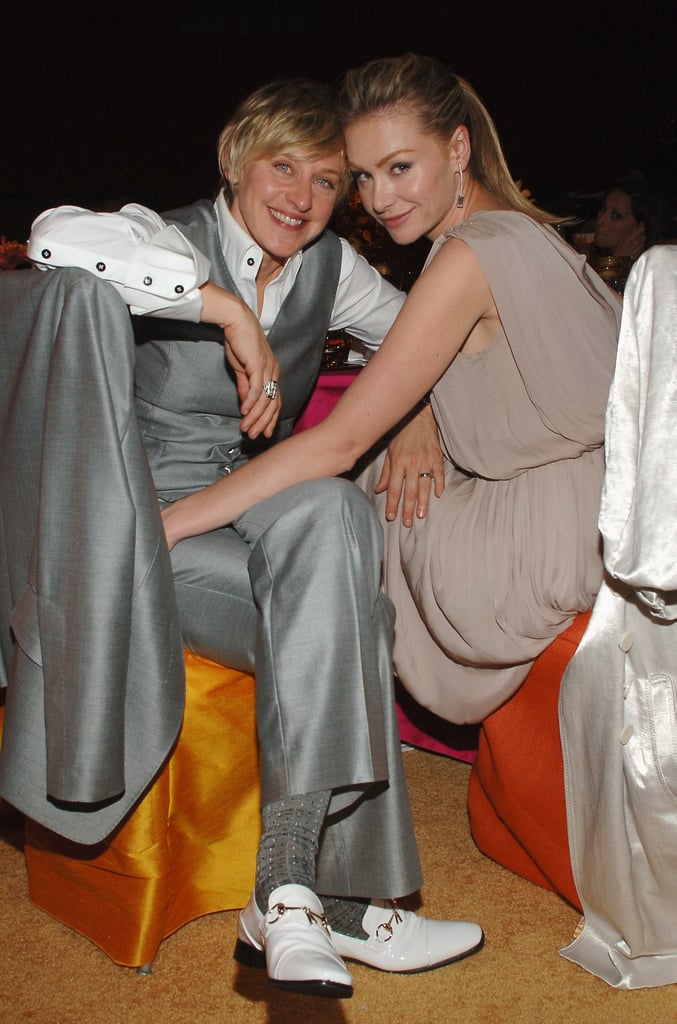 Portia and Ellen hung out at Elton John's annual LA Oscar viewing party in February 2008.