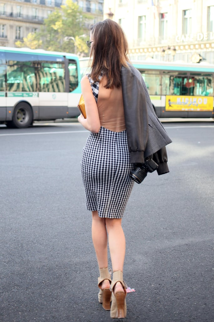 A gingham dress is even more flirty with an open back.