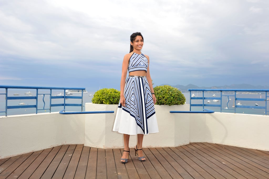 Freida Pinto took in the view at the Desert Dancer photocall at the Cannes FIlm Festival.