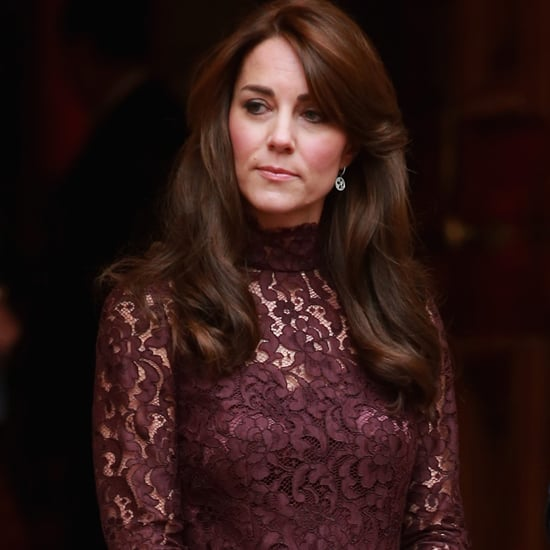 Kate Middleton Wearing Purple Lace Dress
