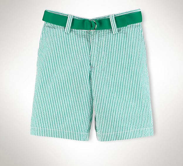 Green seersucker shorts ($50) are a preppy option for your lil guy.