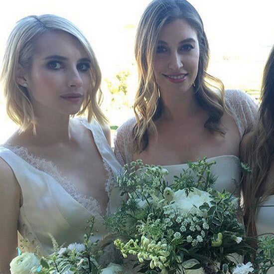 Emma Roberts White Bridesmaid Dress