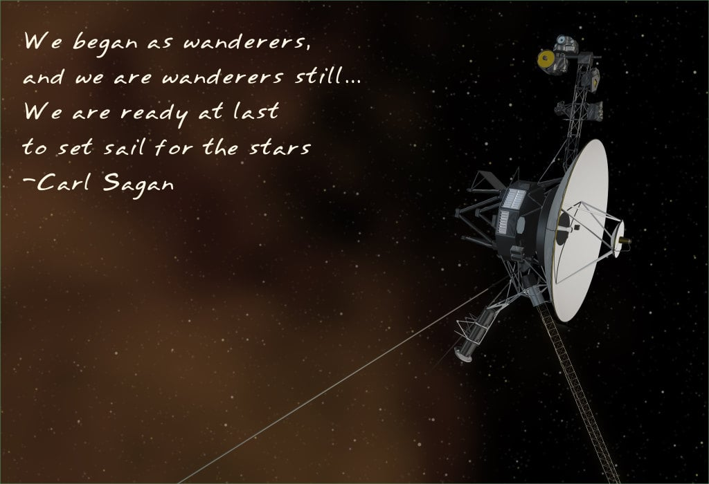 """""""We began as wanderers, and we are wanderers still . . . We are ready at last to set sail for the stars."""" The Voyager 1 probe has already reached interstellar space, the farthest of any human probe. Carl's thirst for exploration is highlighted in this poster ($24) by Etsy user frameitposters."""