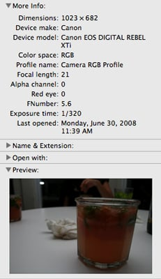 Easily Find and Re-use SLR Camera Settings By Clicking Get Info or Using iPhoto on Photos