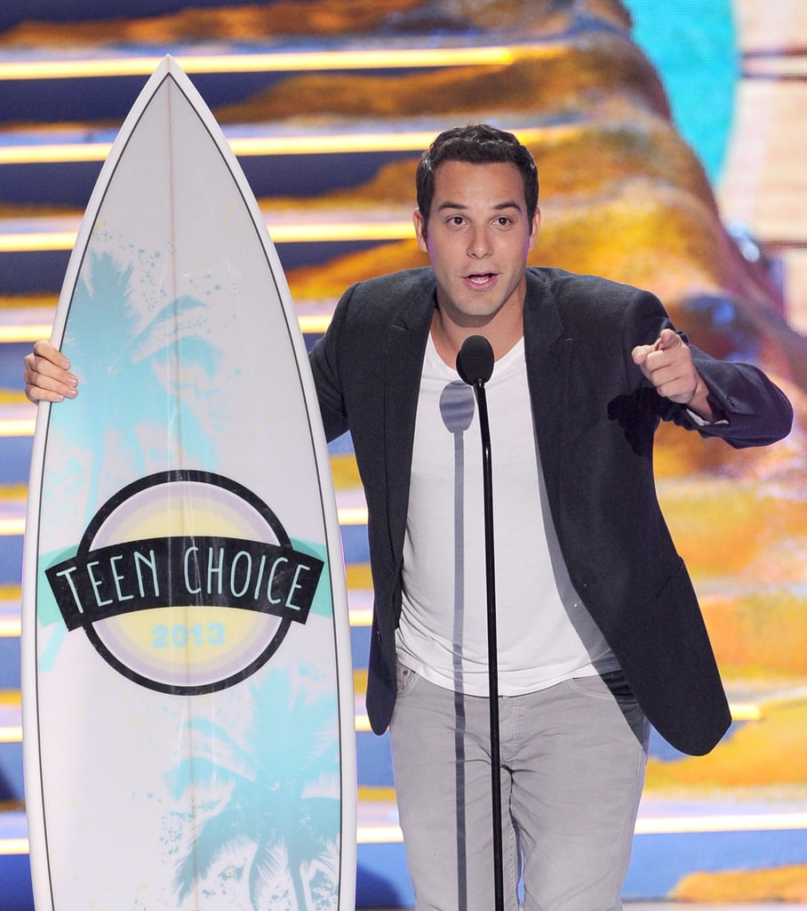 Pitch Perfect's Skylar Astin accepted the award for choice movie actor at the Teen Choice Awards.