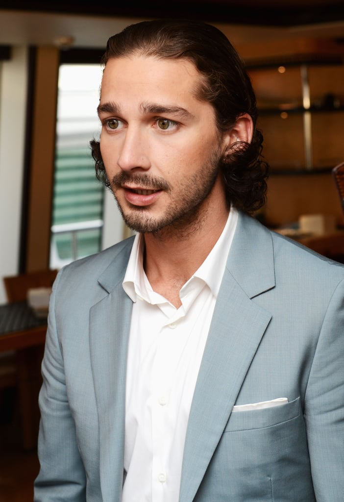 Shia LaBeouf wore a gray suit to film and episode of the French TV show Le Grand Journal.