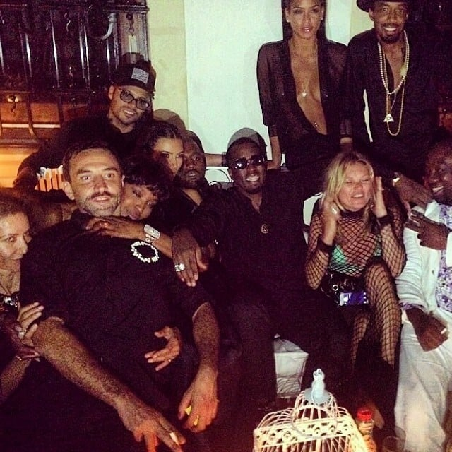 Party guests including Naomi Campbell, Kate Moss, and Cassie