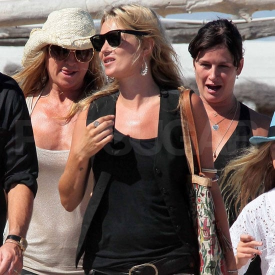 Kate Moss Pictures at Lunch in St. Tropez in Summer Black