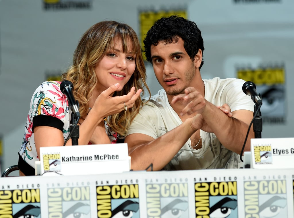 Katharine McPhee and Elyes Gabel shared a cute moment at a panel for their upcoming CBS show, Scorpion, on Thursday.
