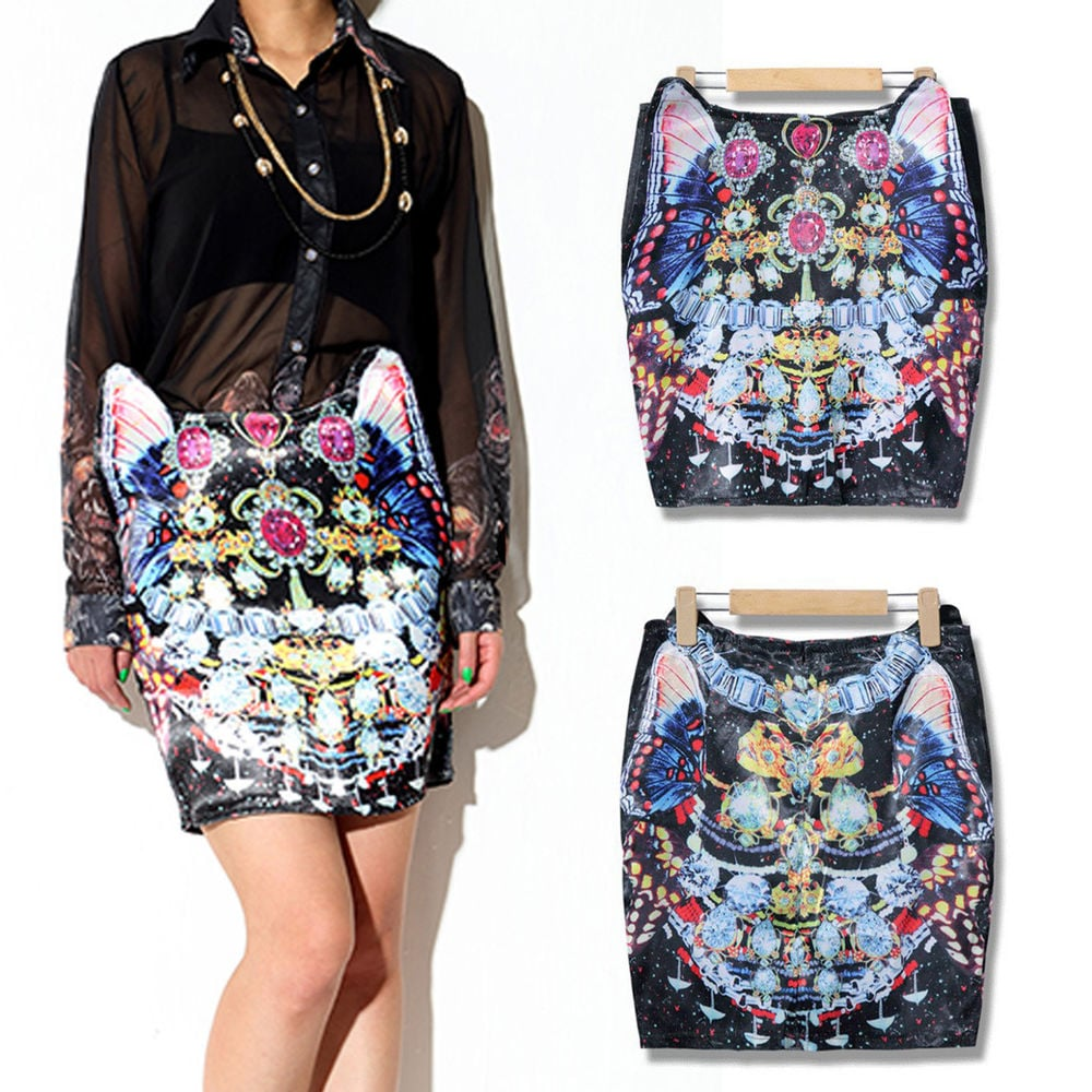 A 3D-like skirt ($15) shaped with cat ears in a baroque print? Sold.