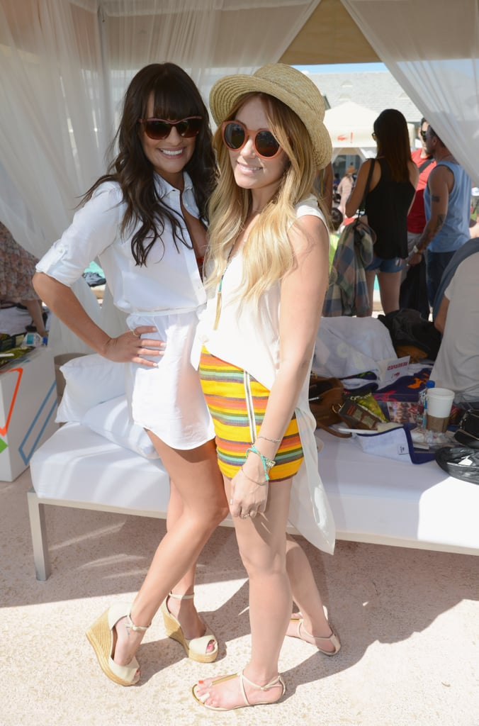 Lea Michele hung with Lauren Conrad, decked out in sweet striped shorts and shades at Lacoste! Live.