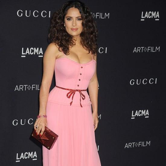 Salma Hayek Wears Pink Gucci Dress to 2015 LACMA Gala