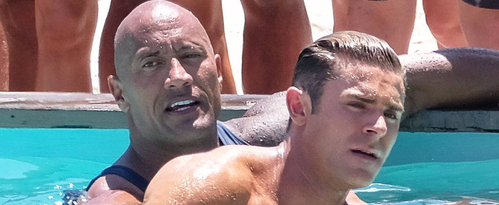Zac Efron Goes For a Shirtless Swim With Dwayne Johnson on the Set of Baywatch