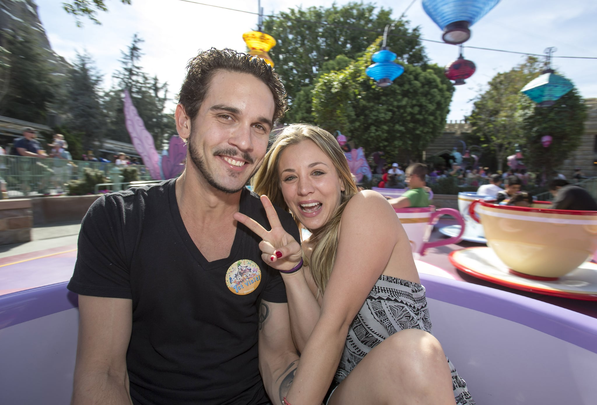 Kaley Cuoco and Ryan Sweeting took a teacup ride at Disneyland in February 2014.